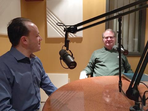 Matt Grossmann and Charles Ballard in WKAR recording studio.
