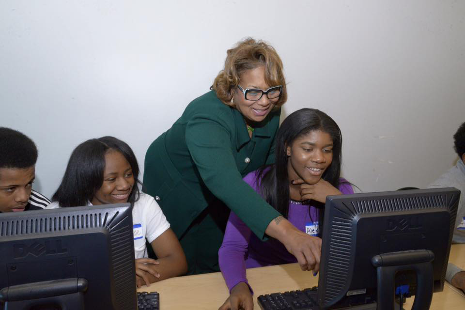 Detroit Public Schools students and teacher on computers