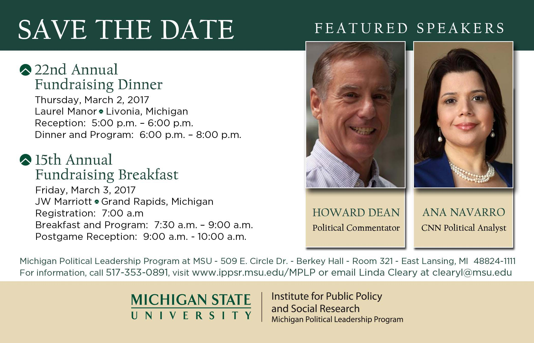 Save the Date card for Howard Dean and Ana Navarro