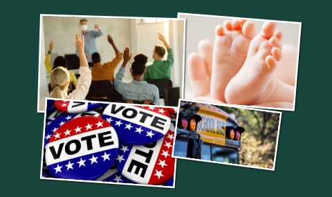Students, voter buttons and infant feet