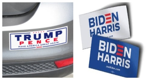 Bumper stickers for Trump and Biden